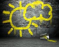 La pared de la pintada con el sol y la nube firman, fondo de la calle stock de ilustración