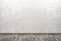 La pared de ladrillo, el fondo de madera 3d del piso rinde Imagen de archivo libre de regalías