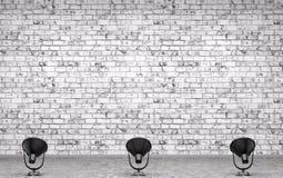 La pared de ladrillo, el piso concreto y el fondo 3d de las lámparas rinden libre illustration