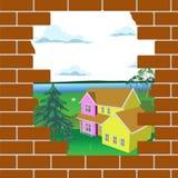 La pared de ladrillo quebrada stock de ilustración