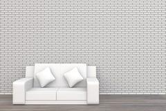 la pared de ladrillo y la madera blancas del sofá 3d suelan el fondo fotografía de archivo