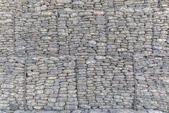 La pared de las piedras del río embaló en una rejilla del metal Imagen de archivo