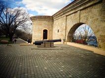 La pared del museo antigua un arma un parque fotos de archivo