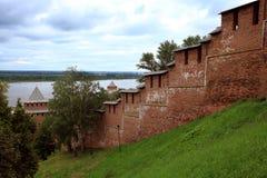 La pared del Nizhny Novgorod el Kremlin Imágenes de archivo libres de regalías