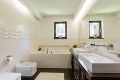 La pared inusual teja el adición del carácter al bathroom& x27; interior de s Imagen de archivo libre de regalías