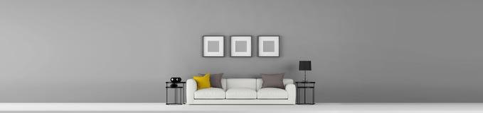 La pared vacía gris ancha de alta resolución con un poco de muebles y foto enmarca el ejemplo 3d stock de ilustración
