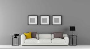 La pared vacía gris de alta resolución con un poco de muebles y foto enmarca el ejemplo 3d ilustración del vector