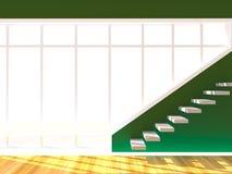 La pared verde adorna la escalera Imagen de archivo libre de regalías