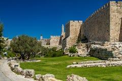 La pared y la torre occidentales de David, Jerusalén Fotografía de archivo