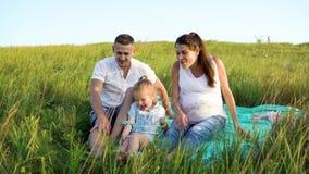 La pareja embarazada con la hija del niño tiene campo de hierba del outdoorsin del tiempo libre en la manta almacen de video