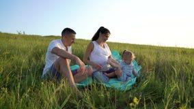 La pareja embarazada con la hija del niño tiene tiempo libre al aire libre en campo de hierba en la manta almacen de video