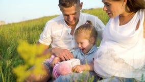 La pareja embarazada del primer con la hija del niño tiene tiempo libre al aire libre en campo de hierba en la manta almacen de metraje de vídeo