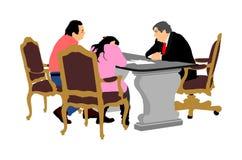 La pareja mayor casada firma el contrato con el director de banco, ejemplo del vector Contrato de firma de las propiedades inmobi ilustración del vector