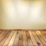La parete beige con il punto accende il pavimento di legno. ENV 10 Fotografia Stock Libera da Diritti