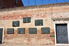 La parete commemorativa a Venezia Immagine Stock Libera da Diritti