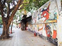 La parete con i graffiti della città Fotografie Stock
