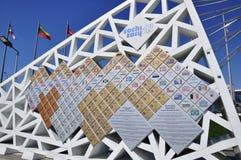 La parete dei giochi olimpici 2014, Soci dei campioni Fotografia Stock