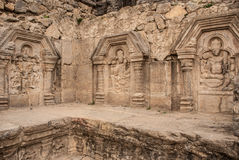 La parete del tempio di Sun nel Kashmir Immagine Stock