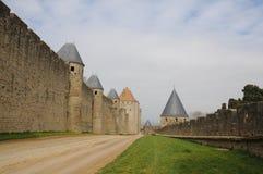 La parete della fortezza di Carcassonne, Francia Immagini Stock