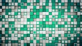 La parete di 3D verde e bianco cuba il fondo astratto Fotografia Stock Libera da Diritti