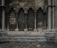 La parete di pietra antica della cattedrale in Halberstadt, Germania fotografia stock