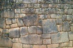 La parete di pietra con la cittadella antica unica di Inca Stonework Inside Machu Picchu, Cusco, Urubamba, sito archeologico nel  fotografia stock