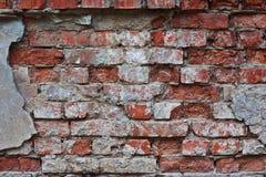 La parete di vecchia casa con mattoni a vista Immagini Stock Libere da Diritti