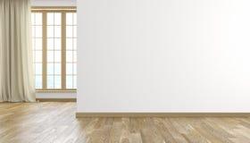La parete ed il legno bianchi pavimentano l'interno vuoto luminoso moderno della stanza 3d rendono l'illustrazione illustrazione di stock