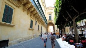 La parete laterale del palazzo del ` s del grande Maestro a La Valletta, Malta stock footage
