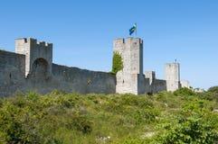 La parete medievale della città di Visby Fotografie Stock Libere da Diritti