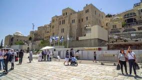 La parete occidentale o la parete lamentantesi è il posto più santo a giudaismo nella vecchia città di Gerusalemme, Israele Immagini Stock Libere da Diritti