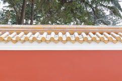 La parete rosa dell'abitudine piega cinese Fotografie Stock