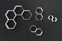 La parete scura o nera vuota con l'esagono accantona sulla parete, la rappresentazione 3D Fotografia Stock