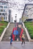 La Parisienne street art wall painting of a staircase on Rue du Chevaleret in the 13th a Royalty Free Stock Photos