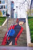 La Parisienne street art wall painting of a staircase on Rue du Chevaleret in the 13th a Stock Photography
