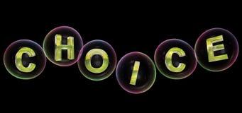 La parola choice nella bolla Fotografia Stock