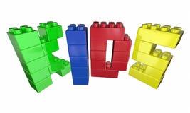 La parola dei bambini segna Toy Blocks Play Time con lettere Fotografie Stock
