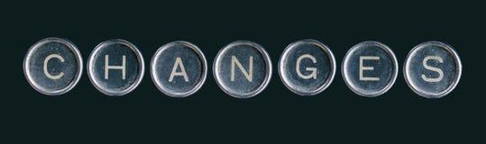 La parola dei cambiamenti fatta con i bottoni fotografia stock