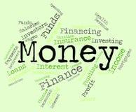 La parola dei soldi significa le finanze e la prosperità ricche Immagine Stock
