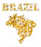 La parola del Brasile e la mappa del paese hanno modellato con i semi del cereale Fotografie Stock Libere da Diritti