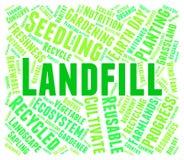 La parola del materiale di riporto rappresenta la gestione e la disposizione dei rifiuti Immagini Stock Libere da Diritti