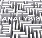 La parola dell'analisi mostra la ricerca o la ricerca Fotografie Stock