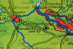 La parola Delmenhorst, vicino a Brema, mappa del onhe Immagine Stock