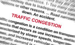 La parola di ongestion di traffico offusca radialmente Fotografia Stock