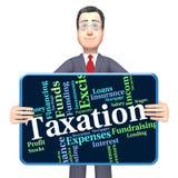 La parola di tasse indica Levy Taxes And Irs Fotografia Stock Libera da Diritti