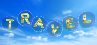 La parola di viaggio nella bolla illustrazione di stock