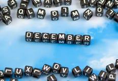 La parola dicembre Fotografie Stock Libere da Diritti