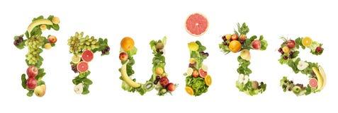 La parola FRUTTA fatta della frutta Fotografie Stock Libere da Diritti