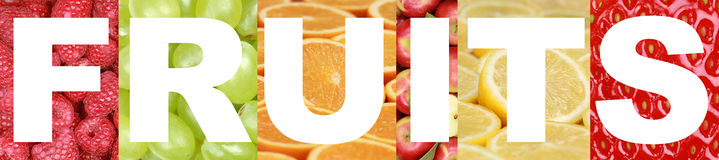 La parola fruttifica con la mela, l'arancia, il limone, il lampone e lo strawbe Fotografie Stock Libere da Diritti