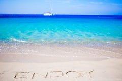 La parola gode di scritto a mano sulla spiaggia sabbiosa con l'onda di oceano molle su fondo Fotografie Stock Libere da Diritti
